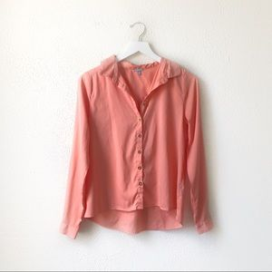 Charlotte Russe   Salmon Pink Button Up Blouse S